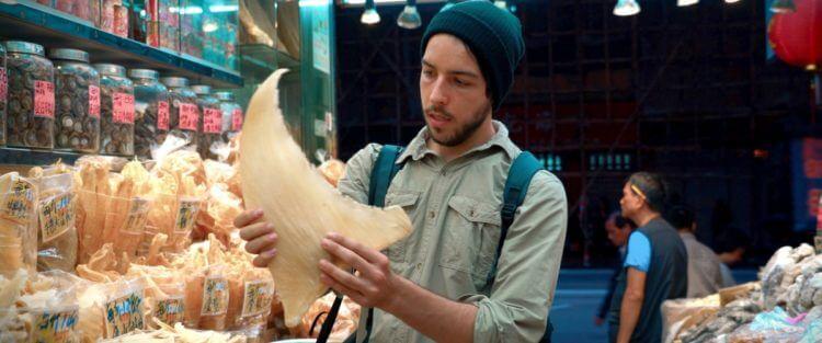 Barbatana de tubarão em mercado