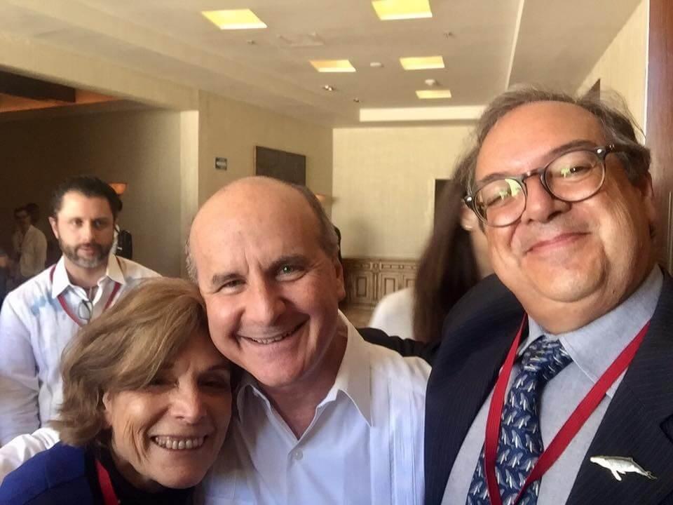 Sylvia Earl,ex-Presidente da Costa Rica, José Maria Filgueres e José Truda Palazzo Jr, no mais recente Summit, no México em 2018