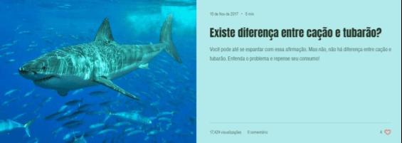 Clique na imagem para ler o artigo sobre a diferença entre cação e tubarão - Instituto Bióicos 2018.