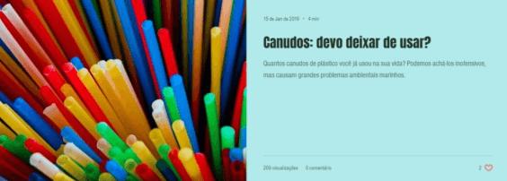 Clique na imagem para ler o artigo sobre alternativas ao canudo plástico - Instituto Bióicos 2019.